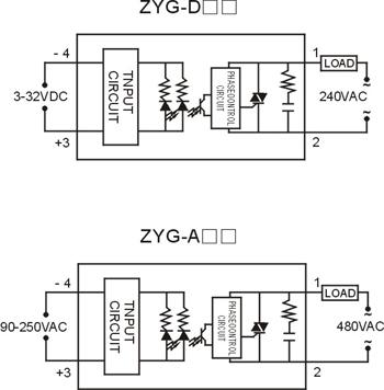 上海卓一zyg-a4810单相固态继电器 交流控交流固态继电器10a